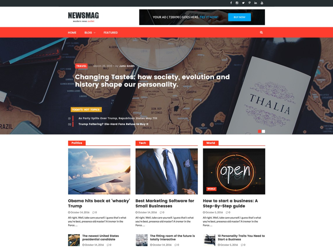 NewsMag Lite- ideal theme for webmasters