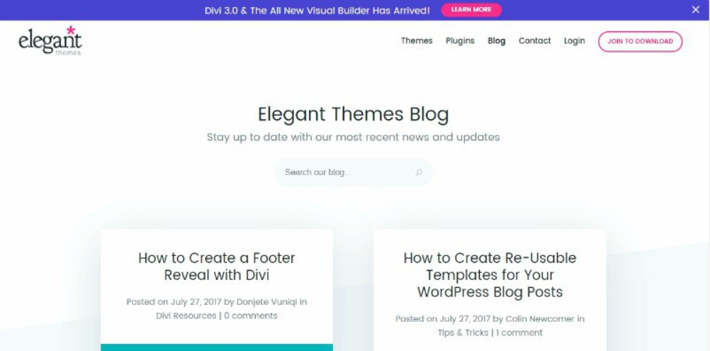elegant themes blog